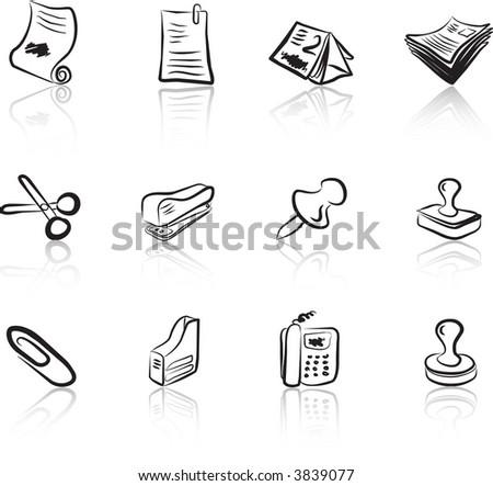 Desk & Office I Black & White icons set