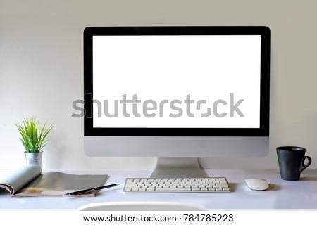 Desk Scene Mockup :  Workspace Desktop computer and office supplies on wood desk. #784785223
