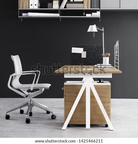Desk setup buisnessman with computer and professional tools