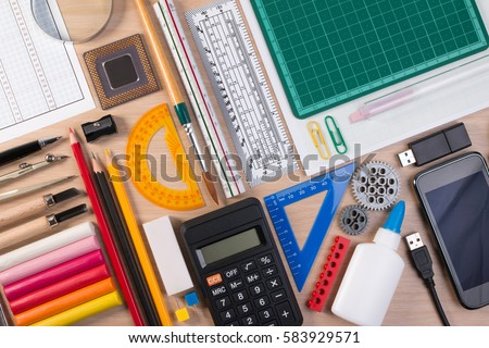 free photos office table desk or school supplies on table school