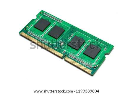 Desktop and laptop ddr ram memory isolated on white background