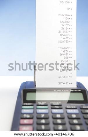 desktop calculator with paper roll
