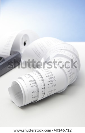 desktop calculator with paper roll