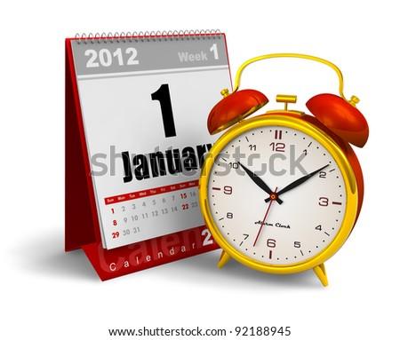 Desktop Calendar And Vintage Analog Alarm Clock Isolated