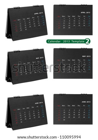 Desktop calendar 2013 isolated on white background ( april, may, june )