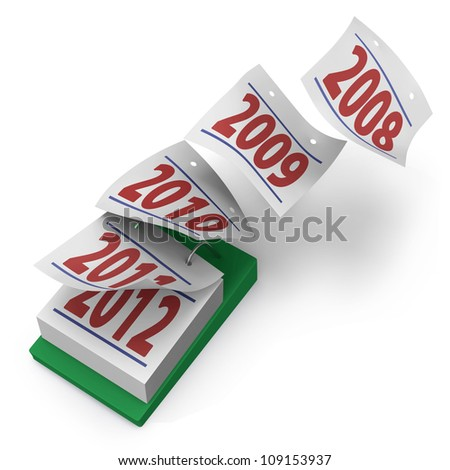 Desktop calendar showing how five years fly by from 2008 to 2012 on white background - stock photo