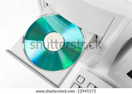 Desktop Computer and CD-ROM Drive close up shot