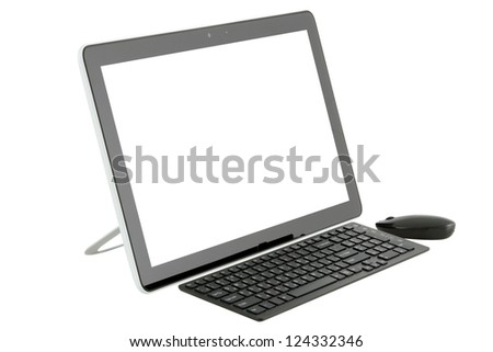 Desktop computer isolated on white background.