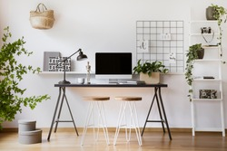 Desktop computer mock-up on an industrial desk in a scandinavian student bedroom interior workspace with white walls