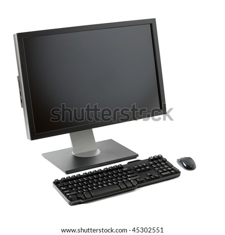 Desktop computer ( monitor, keyboard, mouse) isolated