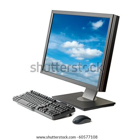 Desktop computer (monitor, keyboard, mouse) isolated