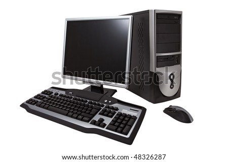 "Desktop computer with lcd monitor, keyboard and mouse, ""isolated on white"". ""With clipping path"""