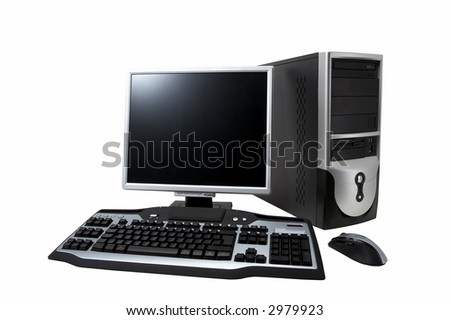 "desktop computer with lcd monitor, keyboard and mouse, isolated over white. With ""Clipping Paths"""