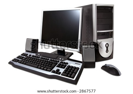 "desktop computer with lcd monitor, keyboard, speaker and mouse, isolated over white. With ""Clipping Paths"""