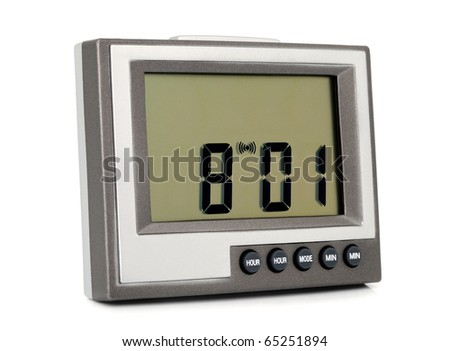 Desktop electronic clock isolated on white background