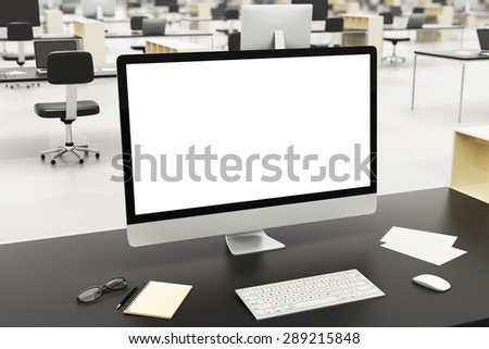 desktop in a modern office, 3d render