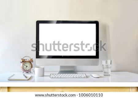Desktop mockup, Workspace modern desktop computer with book, pen and clock on table.  #1006010110