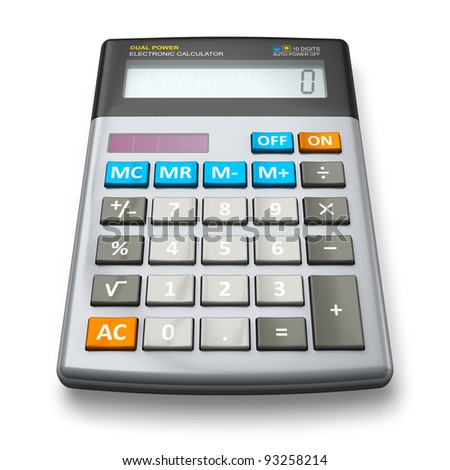 Desktop office calculator isolated on white background