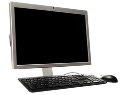 Desktop Personal Computer with Keyboard and Mouse for Home and Office Use,  Isolated on a White Background