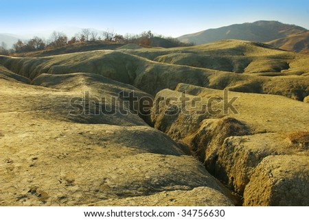 Desolate arid landscape with flow rifts