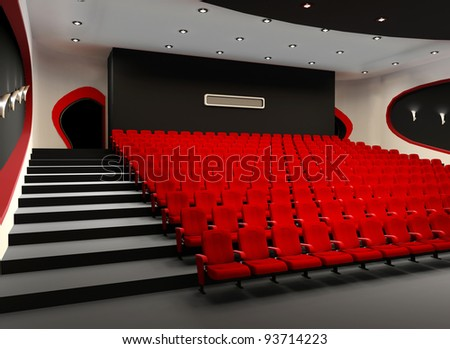 Desolate red cinema hall with comfortable velvet armchairs