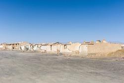 desolate scene of an abandoned town, the ruins of cold lake oil base, haixi mongolian and tibetan autonomous prefecture, qinghai province, China