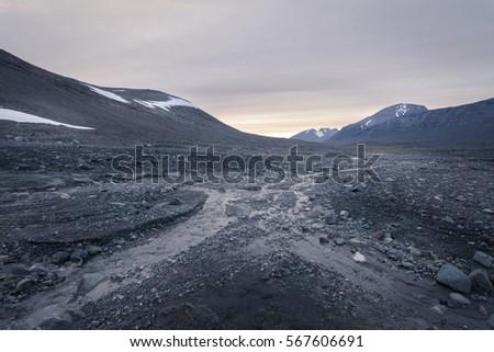 Desolate stone field giving feeling of emptiness in Sarek