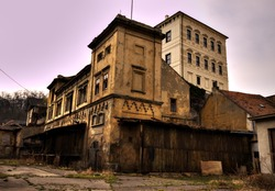 Desolated old brewery building