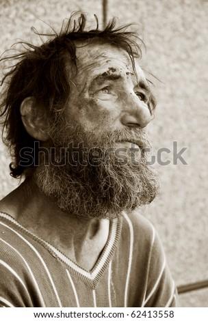 Despair of homeless tramp.
