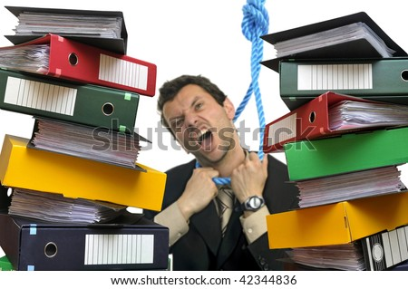 Desperate businessman hanging himself with files everywhere isolated in white