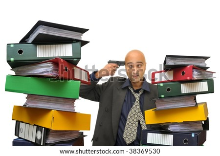 Desperate businessman with a gun and files everywhere isolated in white