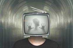 desperate man trapped in a television surreal concept
