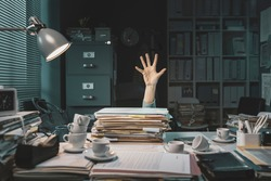 Desperate office worker overwhelmed with paperwork, she is asking help with her hand