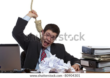 Desperated, stressed employee is doing suizide in office. Isolated on white background.