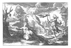 Despite the warning from the crow Cornix, the white raven Corvus tells Apollo of the adultery of his beloved Coronis, vintage engraving.