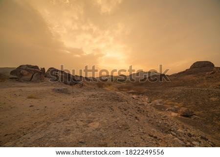dessert and Mountains with Dessert Road, Saudi Arabian Dessert