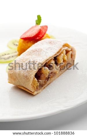 Dessert - Apple Strudel Served with Fruits Ice Cream