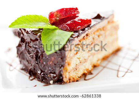 Dessert - Cake with Chocolate and Berries