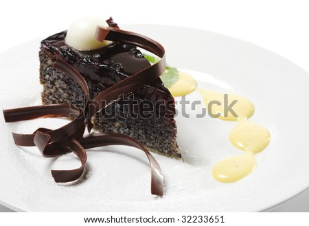 Dessert - Chocolate Cake with Cherries Jelly and Sauce