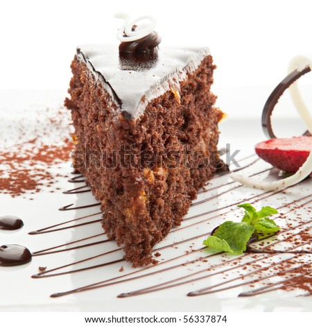 Dessert - Chocolate Cake with Strawberry and Mint