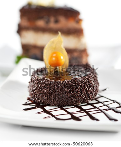 Dessert - Chocolate Iced Cake with Poppy Seed. Selective focus