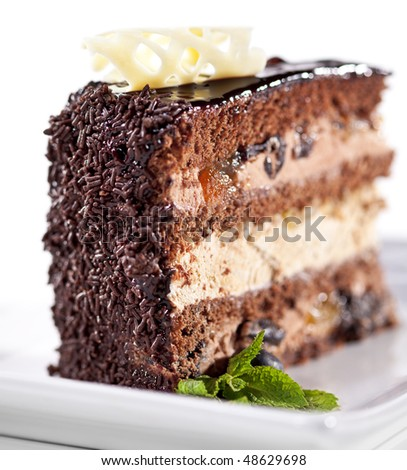 Dessert - Chocolate Layer Cake Icing and Fresh Mint