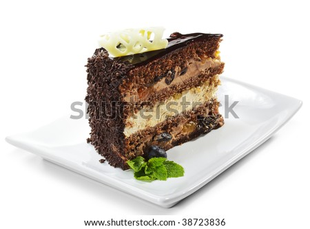 Dessert - Chocolate Sponge Cake Icing and Fresh Mint