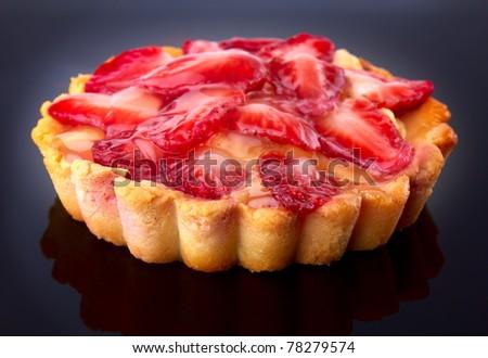 dessert fruit cake with strawberry