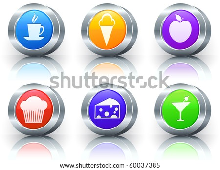 Dessert Icons on Reflective Button with Metallic Rim Collection Original Illustration