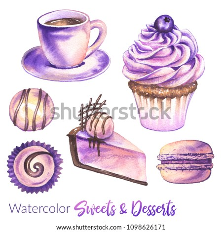 Dessert illustration. Watercolor set of sweets and desserts. Collection of watercolor cakes, macaroons, sweets, cupcakes, coffee cup and cheesecake with ice cream.