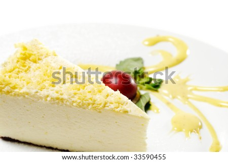 Dessert - Lemon and Chocolate Cheesecake with Grape