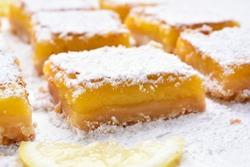 Dessert lemon bars, shallow depth of field