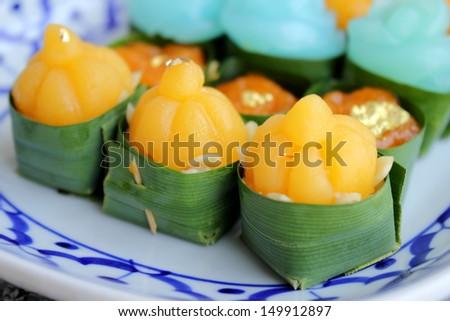 Dessert of thailand, handmade dessert in Pandan cup