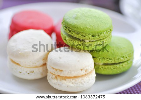 dessert or french dessert or french macaron or macaroon dish #1063372475